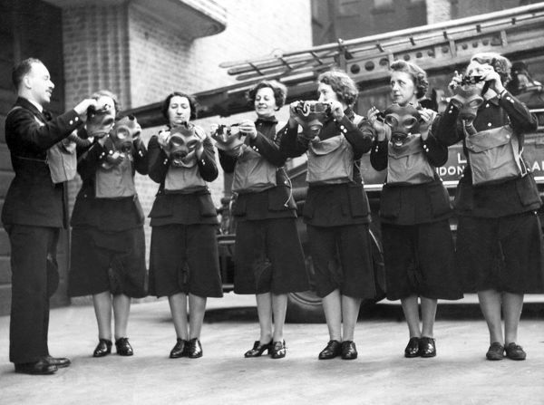 Women of the Auxiliary Fire Service undergoing gas mask training during the Second World War