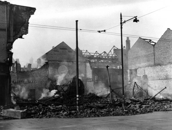 Remains of the Bon Marche Stores in Cleethorpes Road, Grimsby, following a bombing raid on 13-14 June 1943