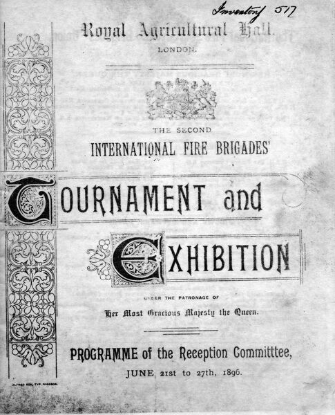 International Fire Brigades Tournament and Exhibition programme for 21 to 27 June 1896 at the Royal Agricultural Hall, London