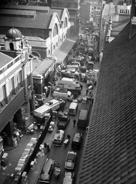 Traffic congestion in the Covent Garden area, London WC2, showing an aerial view of Tavistock Street during the morning of 26 March 1959. Congestion like this made it difficult for fire services to get through in an emergency
