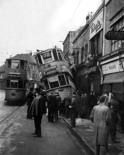 Tram Crash in Woolwich, London. This incident took place in the early hours of Thursday, 18th April 1946. The tram was a no.72 'workmen's' service for early commuters. It wrecked the front of the Co-op Pharmacy at 75 Woolwich New Road