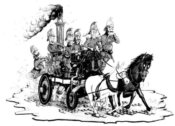 Chris Reynolds was a fireman at Paddington fire station and a talented cartoon artist. He produced a series of LFB/MFB cartoons of which this is one, showing a Victorian horse-drawn steamer fire engine with crew
