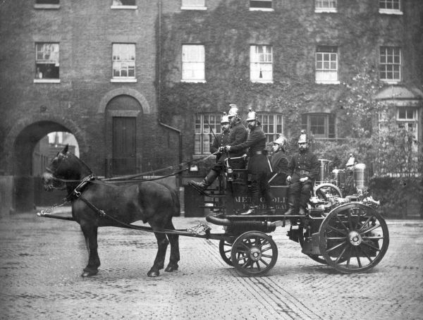 A horse-drawn steamer and crew at Southwark fire station, during the latter years of the Metropolitan Fire Brigade (it was renamed the London Fire Brigade in 1904)