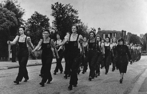 AFS (Auxiliary Fire Service) women training in Highgate, North London, in July 1942