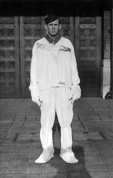 A protective asbestos suit used by the American Army, Air Force and Fire Service (front view), 8 September 1944