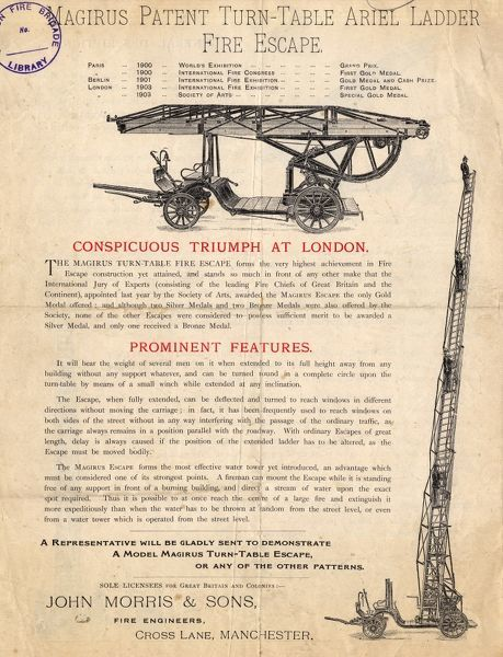 Details of the Magirus-Leiter patent turntable ladder fire escape, a prize-winning vehicle exhibited at various trade fairs in Paris (1900), Berlin (1901) and London (1903), manufactured by John Morris & Sons, Fire Engineers of Cross Lane, Manchester