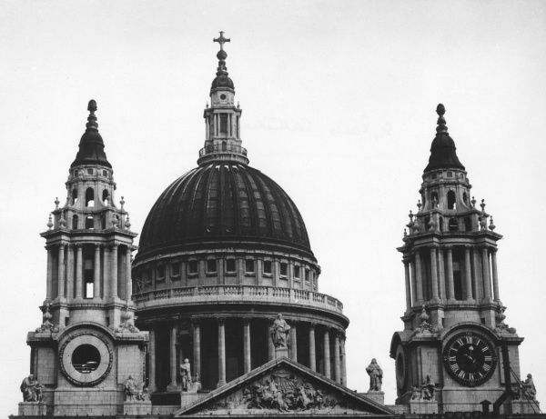 View of the upper section of St Paul's Cathedral, London