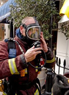 Firefighter wearing breathing apparatus