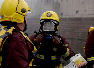 Firefighters wearing breathing apparatus