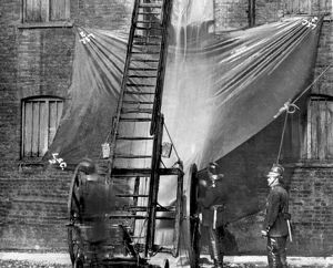 London Salvage Corps at work with salvage sheets