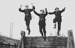 NFS firefighters at assault course training camp, WW2